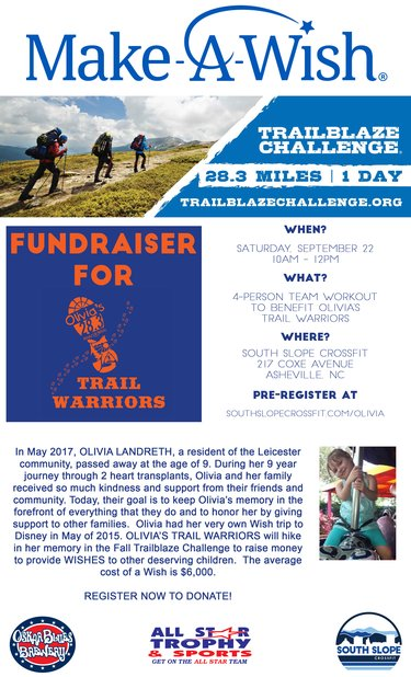 Fundraiser for Olivia's Trail Warriors (NO SHIRT)