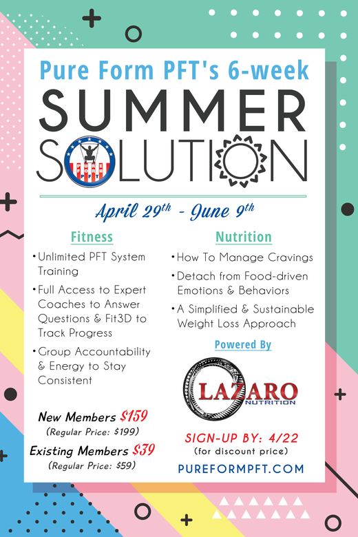 Pure Form 6 week summer solution NEW MEMBERS