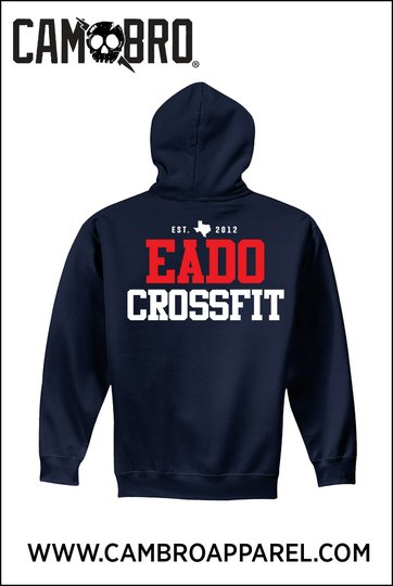 EaDo CrossFit Navy Hoodie (RED WHITE AND BLUE LOGO)
